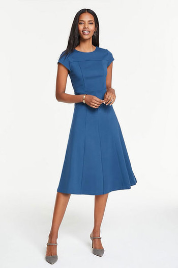 seamed-ponte-flare-dress